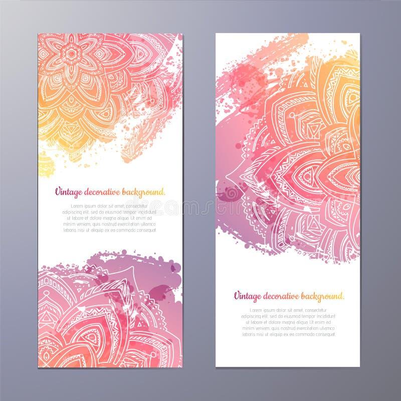Uitnodiging met hand getrokken mandala vector illustratie