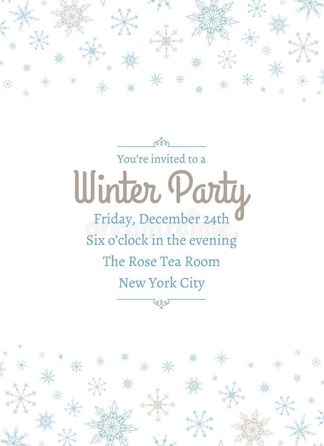 Uitnodiging Twee van de sneeuwvlokpartij stock illustratie