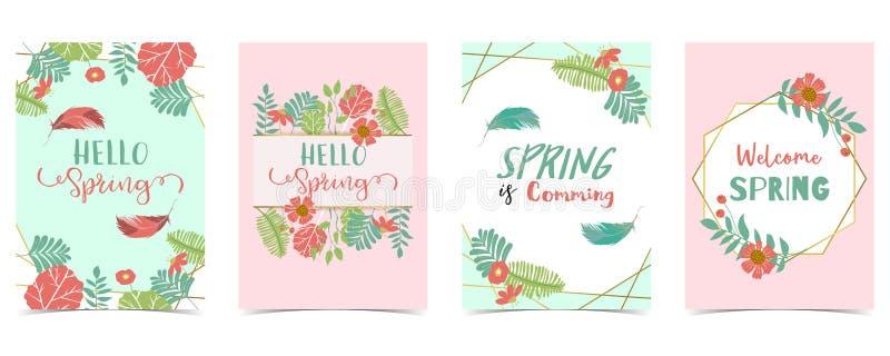 Uitnodiging van de meetkunde de gouden lente met bloem, blad en kader royalty-vrije illustratie