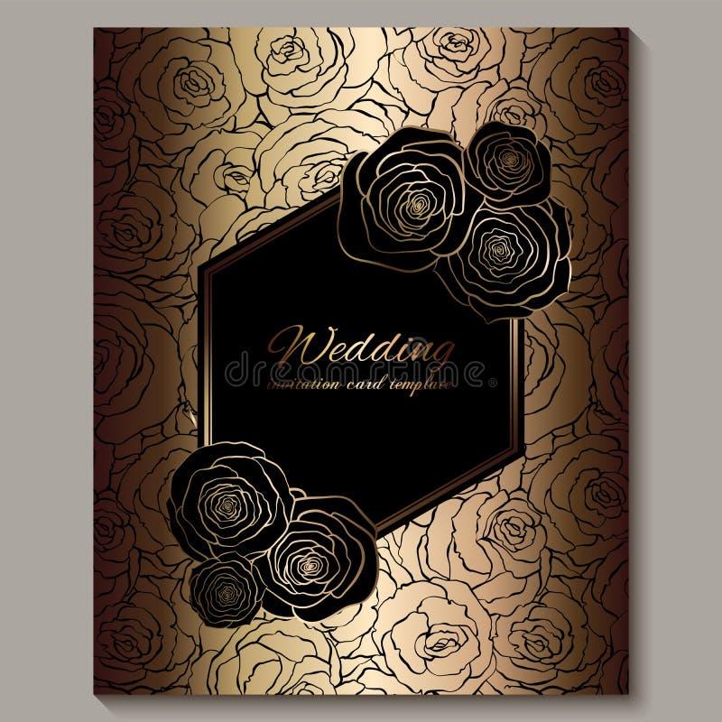 Uitnodiging van het luxe de gouden uitstekende huwelijk, bloemenachtergrond met plaats voor tekst, kanten die gebladerte van roze vector illustratie