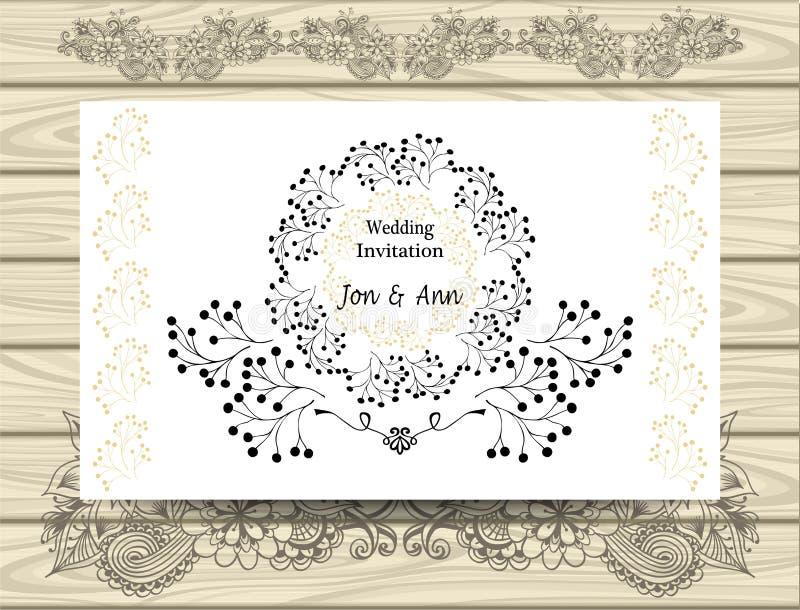 Uitnodiging van het malplaatje de elegante Huwelijk met de Kronen van grenzencirkels van takken vector illustratie