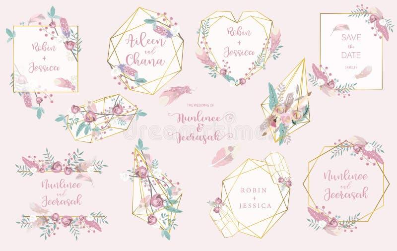 Uitnodiging van het meetkunde de roze gouden huwelijk met roze, blad, lint, kroon, veer, hart en kader vector illustratie
