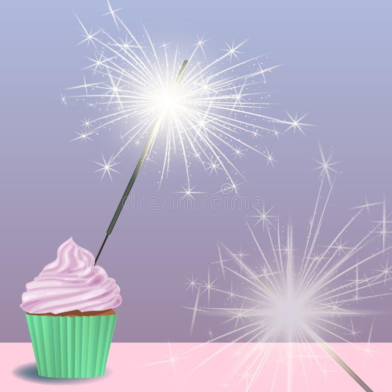 Uitnodiging voor de verjaardagspartij met een cupcake, sterretjes stock illustratie