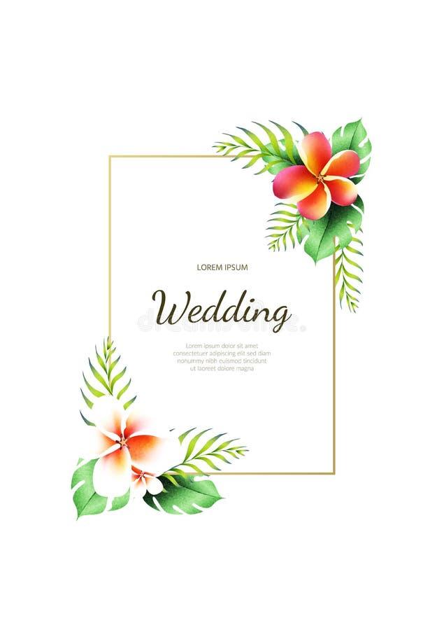 Uitnodiging voor het huwelijk met een patroon van bloemen Tropische installaties royalty-vrije illustratie
