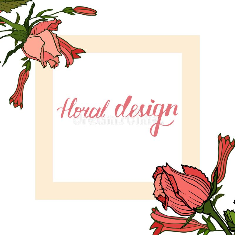 Uitnodigings bloemenkaart met bloemenontwerpelementen royalty-vrije illustratie