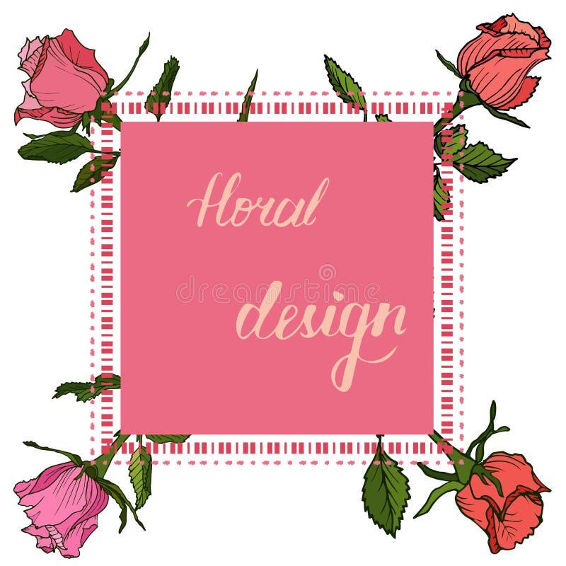 Uitnodigings bloemenkaart met bloemenontwerpelementen vector illustratie