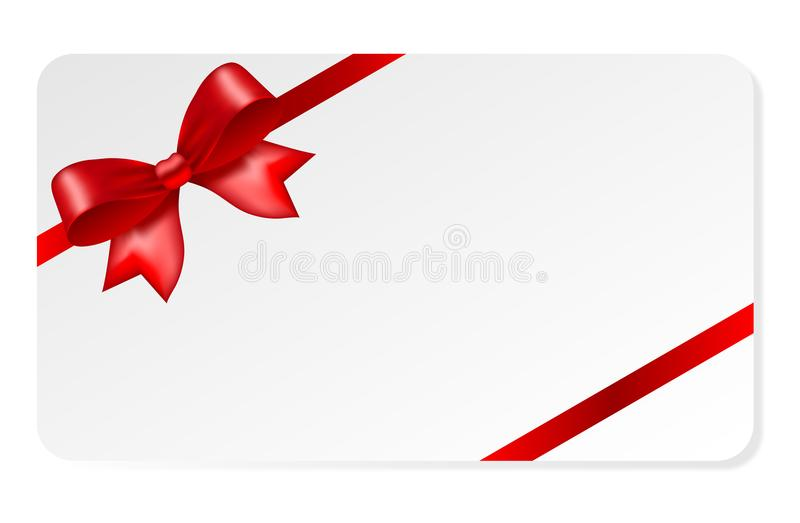 Uitnodigings wirh rode boog Giftbon De kaart van de gift stock illustratie