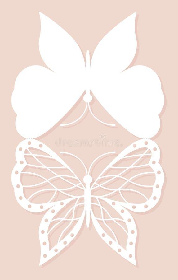 Uitnodigingskaart, huwelijksdecoratie, ontwerpelement De elegante besnoeiing van de vlinderlaser Vector illustratie vector illustratie
