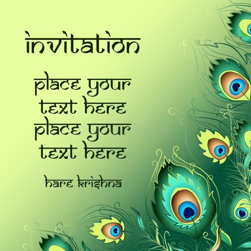 Uitnodigingskaart met de achtergrond van pauwveren royalty-vrije illustratie