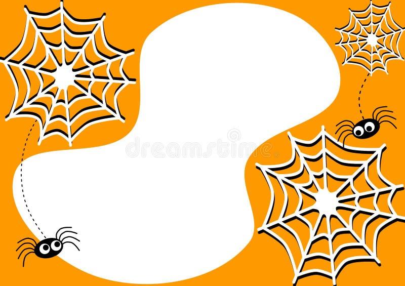Uitnodigingskaart met de spinnen en de spinnewebben van Halloween royalty-vrije illustratie