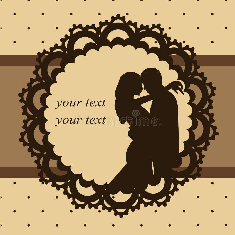 Uitnodigingskaart met een paar in uitstekende stijl De dag van de valentijnskaart `s stock illustratie