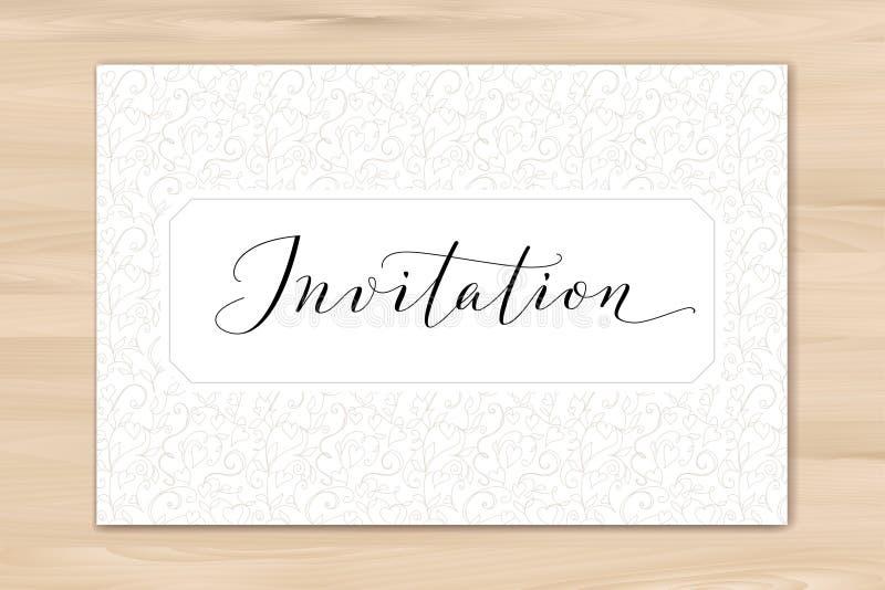 Uitnodigingskaart met hand geschreven douanekalligrafie en hartenachtergrond Groot voor huwelijk en verjaardagspartijontwerp royalty-vrije stock foto's