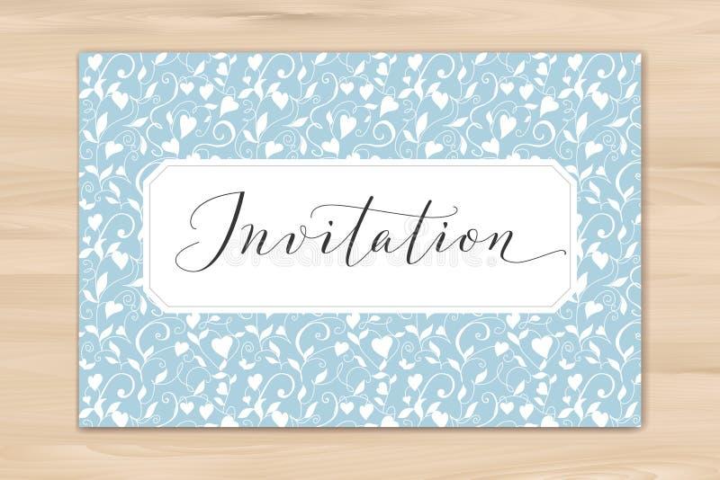 Uitnodigingskaart met hand geschreven douanekalligrafie en hartenachtergrond Groot voor huwelijk en verjaardagspartijontwerp stock afbeeldingen