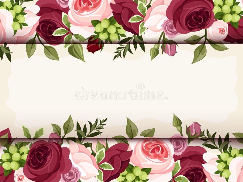 Uitnodigingskaart met rode en roze rozen Vector eps-10 stock illustratie