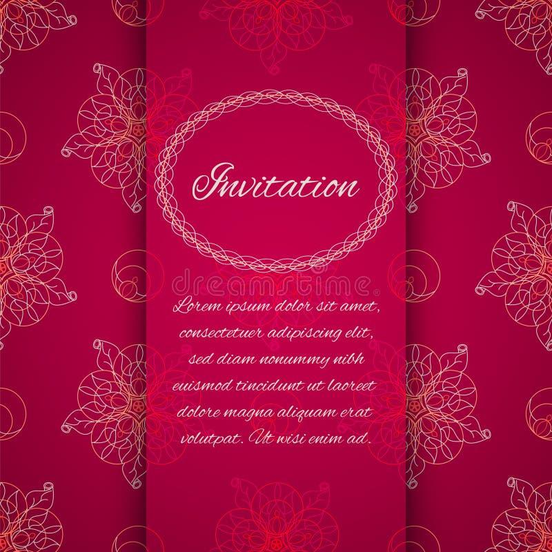 Uitnodigingskaart met sier geometrisch bloemenpatroon stock illustratie