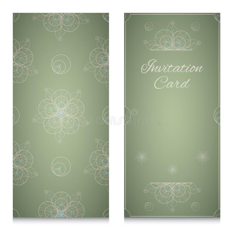 Uitnodigingskaart met sier geometrisch bloemenpatroon royalty-vrije illustratie
