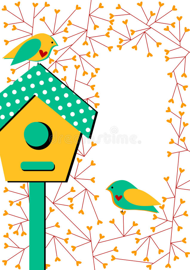 Uitnodigingskaart met vogelhuis en vogels vector illustratie