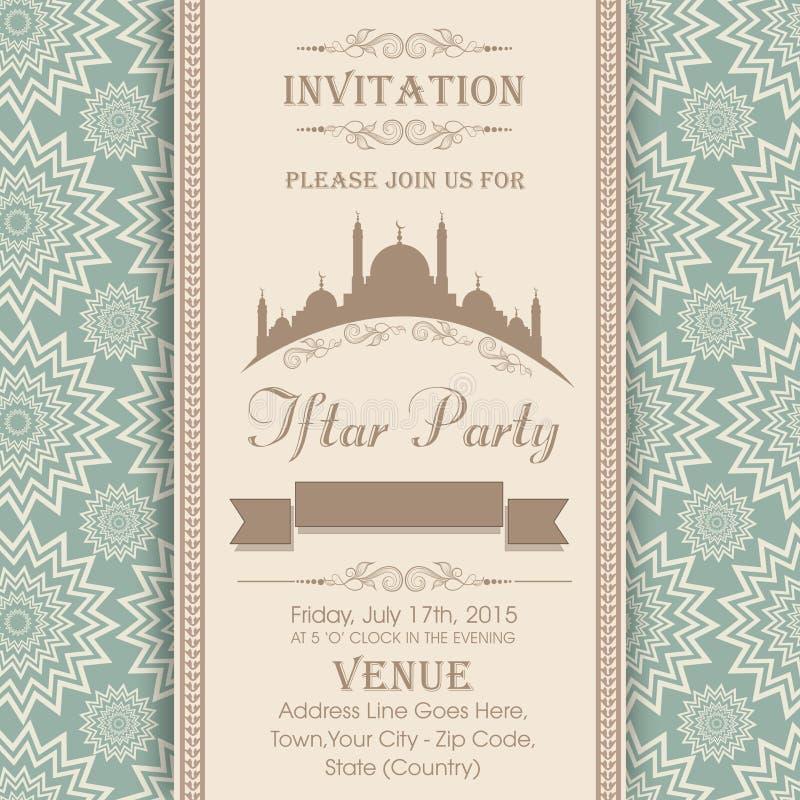 Uitnodigingskaart voor heilige maand Ramadan Kareem Iftar Party royalty-vrije illustratie