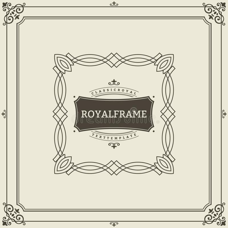 Uitnodigingskader Uitstekend de kaart vectormalplaatje van de ornamentgroet Retro huwelijksuitnodigingen, adverterend of ander on royalty-vrije illustratie