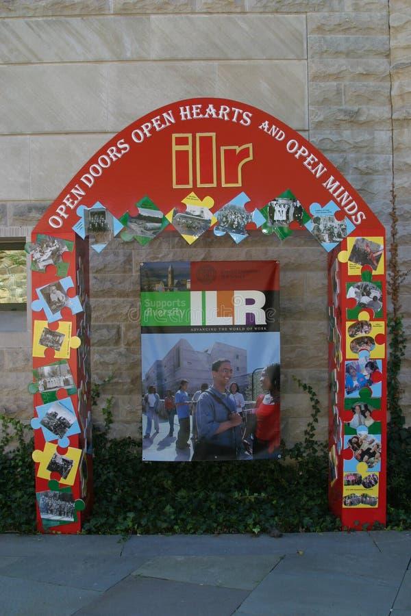 Uitnodigingsvertoning aan een conferentie t de ILR-School in Cornell royalty-vrije stock foto