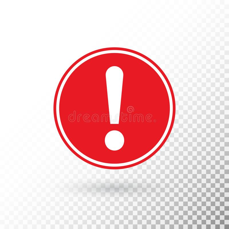 Uitroepteken in rode die cirkel op transparante achtergrond wordt geïsoleerd waarschuwingssymbool Aandachtsknoop Zorg aan mensen  vector illustratie