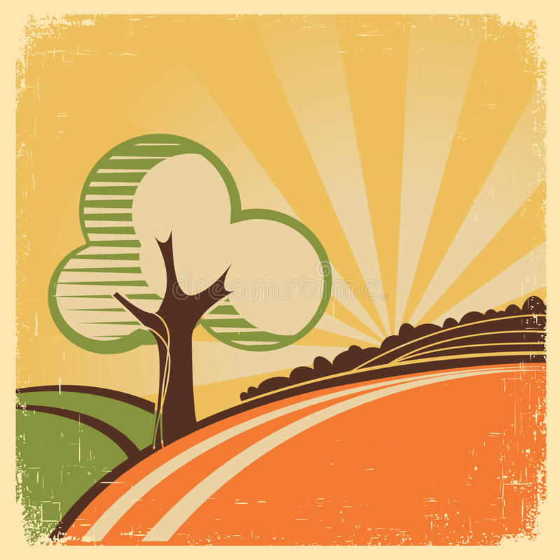 Uitstekend Aardlandschap met boom en zon royalty-vrije illustratie
