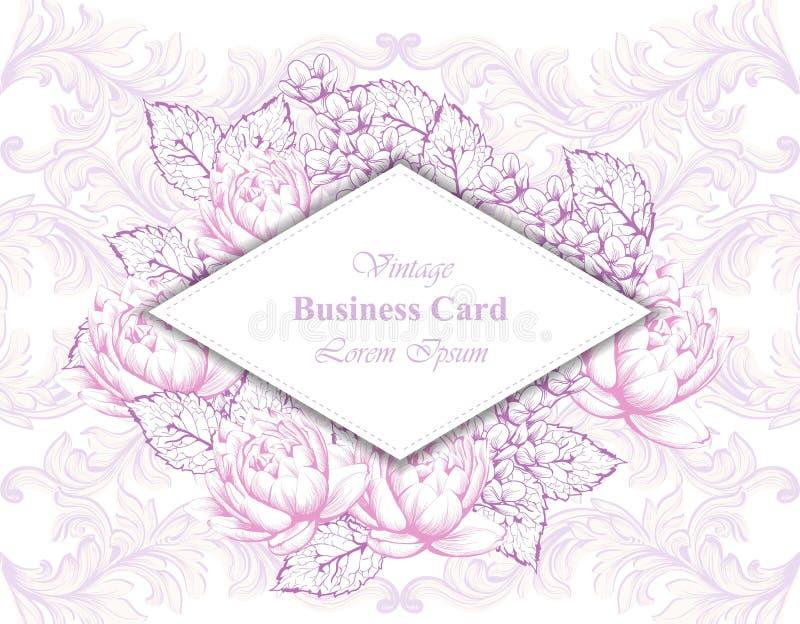 Uitstekend adreskaartje met bloemenkader en ornamentenvector vector illustratie