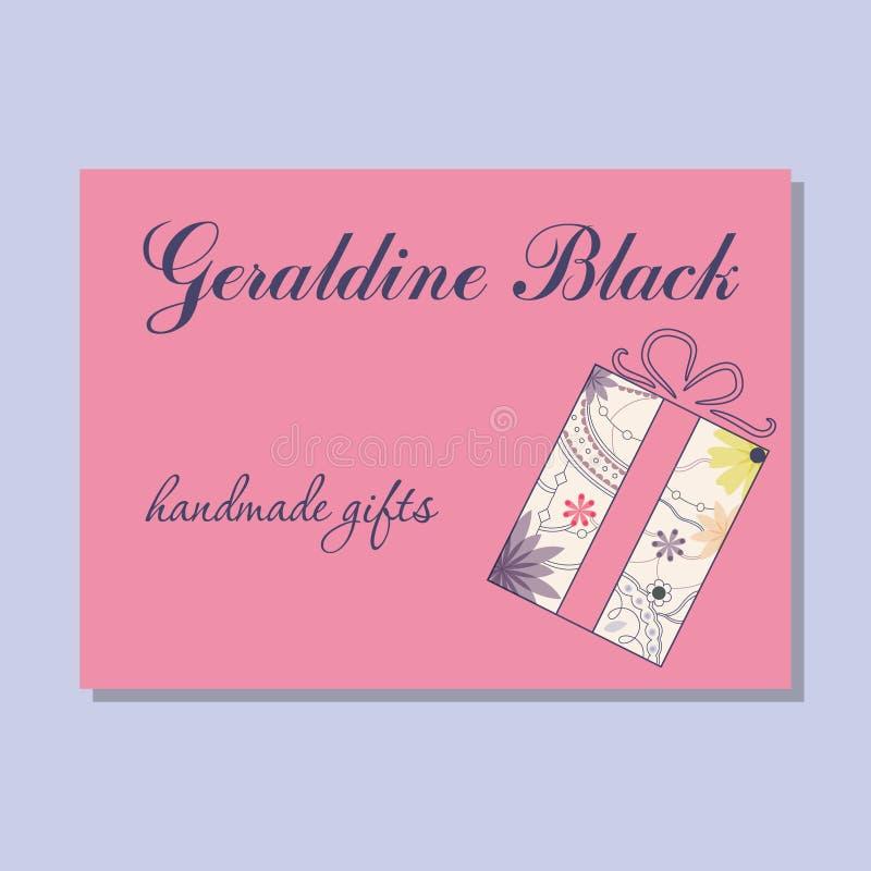 Uitstekend adreskaartje voor met de hand gemaakte giftenmaker stock illustratie