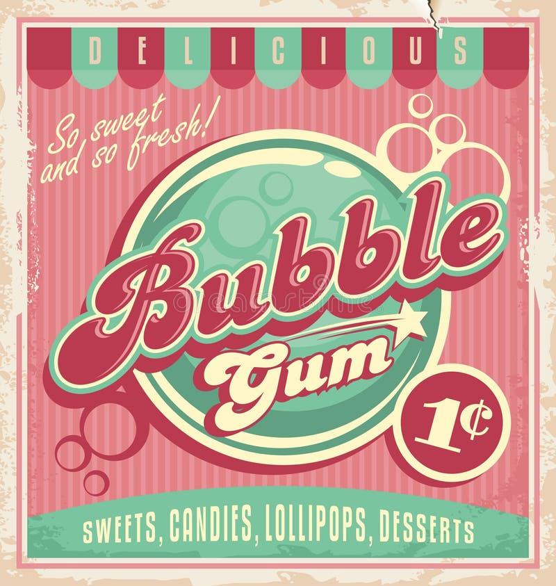 Uitstekend affichemalplaatje voor kauwgom vector illustratie