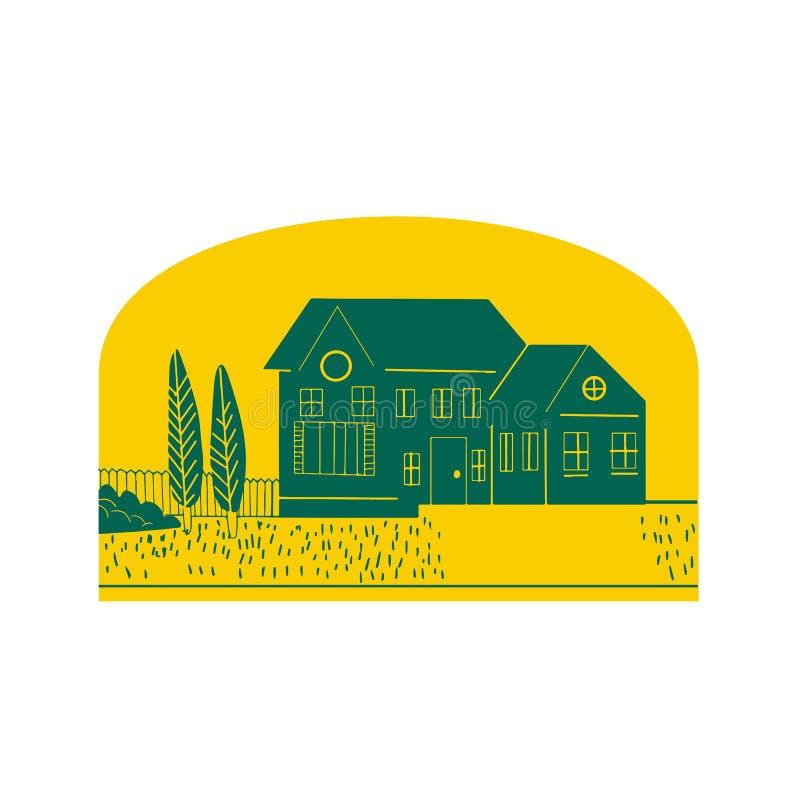 Uitstekend Amerikaans Retro Huis stock illustratie