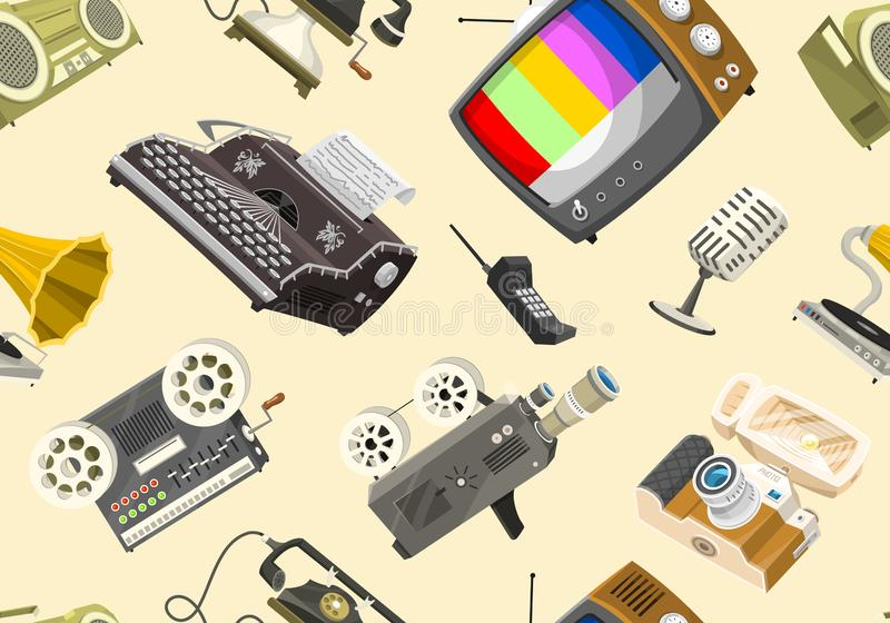 Uitstekend apparaten Naadloos patroon Retro technologie-media, Televisietv, Audio radiomuziek, Elektronische correcte registreert royalty-vrije illustratie