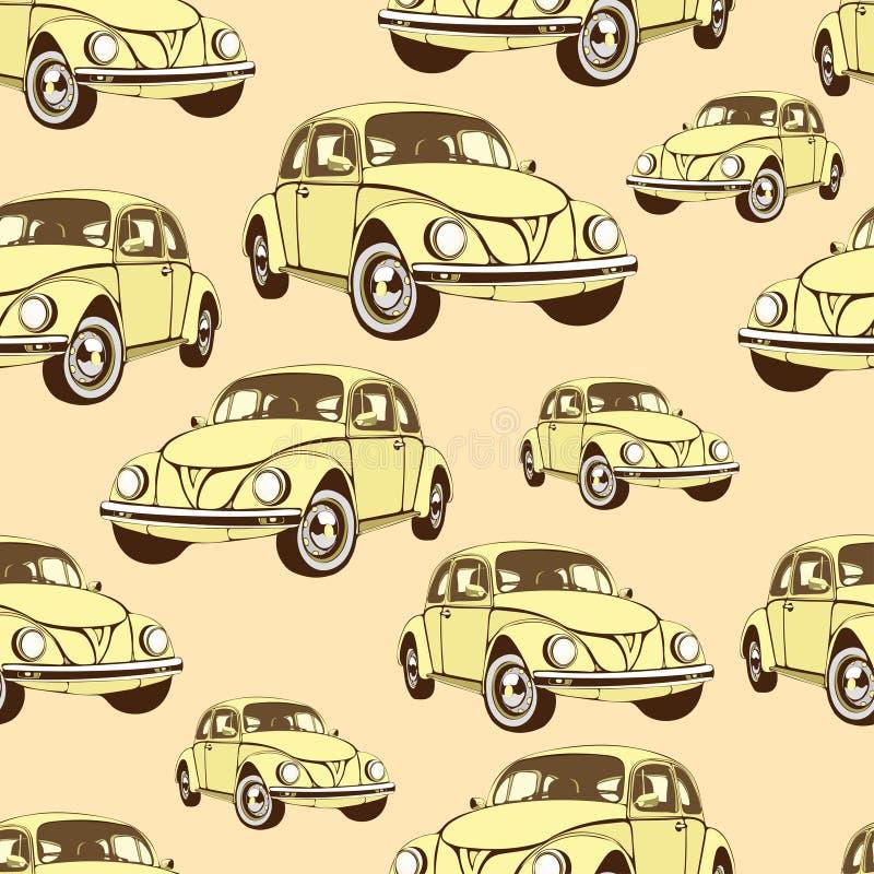 Uitstekend auto naadloos patroon, retro beeldverhaalachtergrond Gele auto's op het beige Voor het ontwerp van behang, omslag, sto vector illustratie
