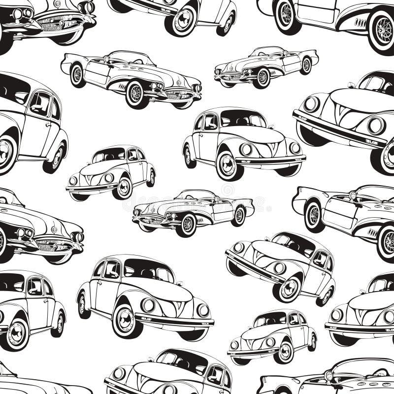 Uitstekend auto naadloos patroon, zwart-witte retro beeldverhaalachtergrond, kleurend boek, zwart-wit tekening auto's op a Voor stock illustratie