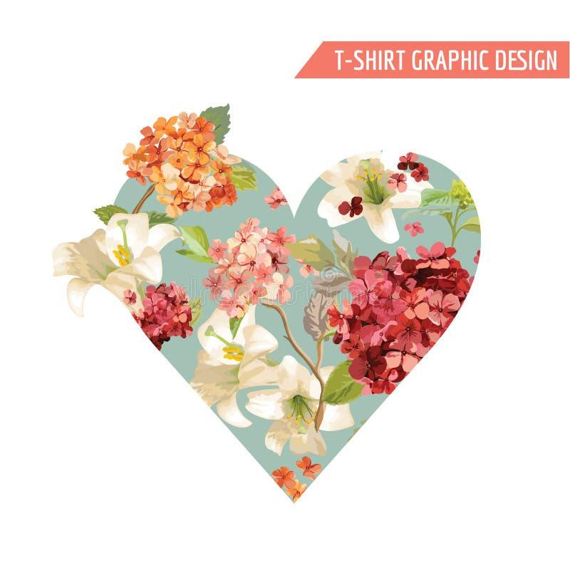 Uitstekend Autumn Flowers Graphic Design voor T-shirt, Manier, Drukken vector illustratie