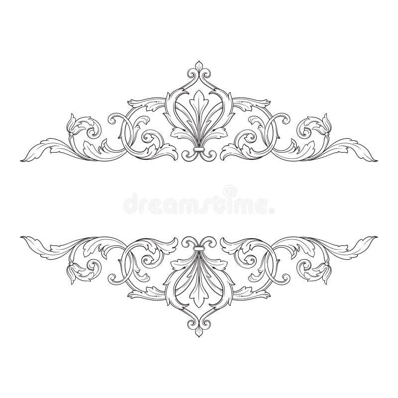 Uitstekend barok de rolornament van de kadergravure vector illustratie