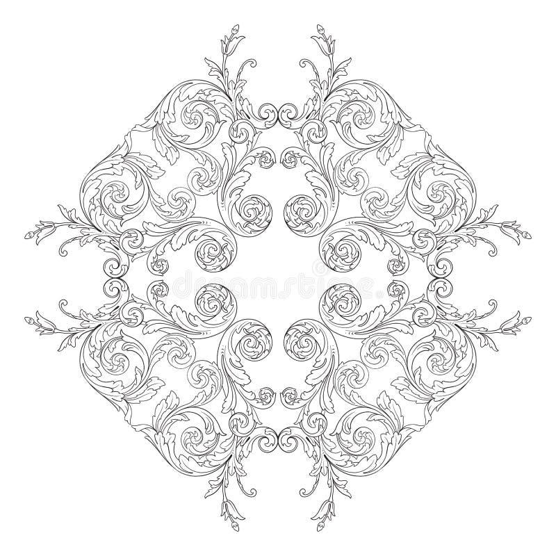 Uitstekend barok de rolornament van de kadergravure royalty-vrije illustratie