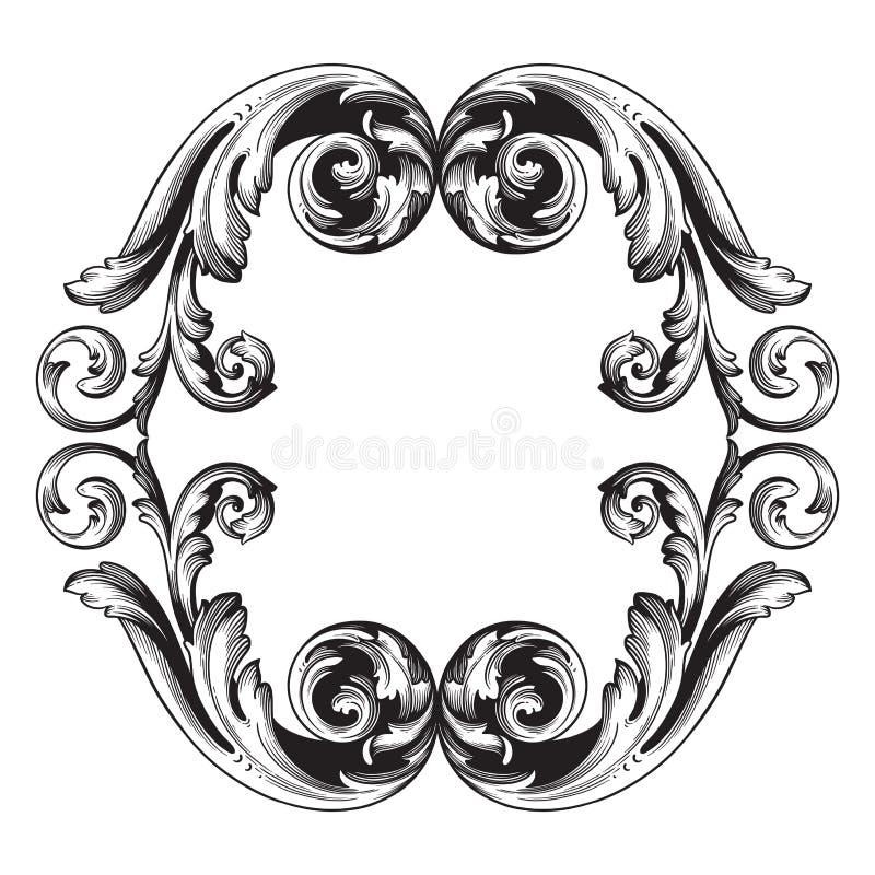 Uitstekend barok de rolornament van de kadergravure stock illustratie