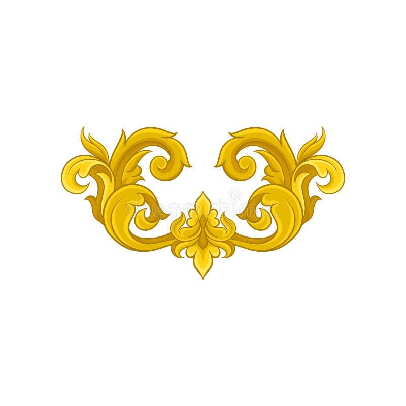 Uitstekend barok ornament in gouden kleur Elegant bloemenpatroon Luxueus decoratief vectorelement royalty-vrije illustratie