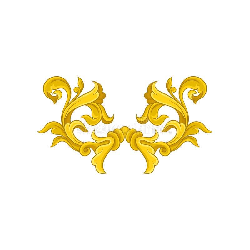 Uitstekend barok patroon Gouden bloemenornament in Victoriaanse stijl Luxueuze vectordecoratie stock illustratie