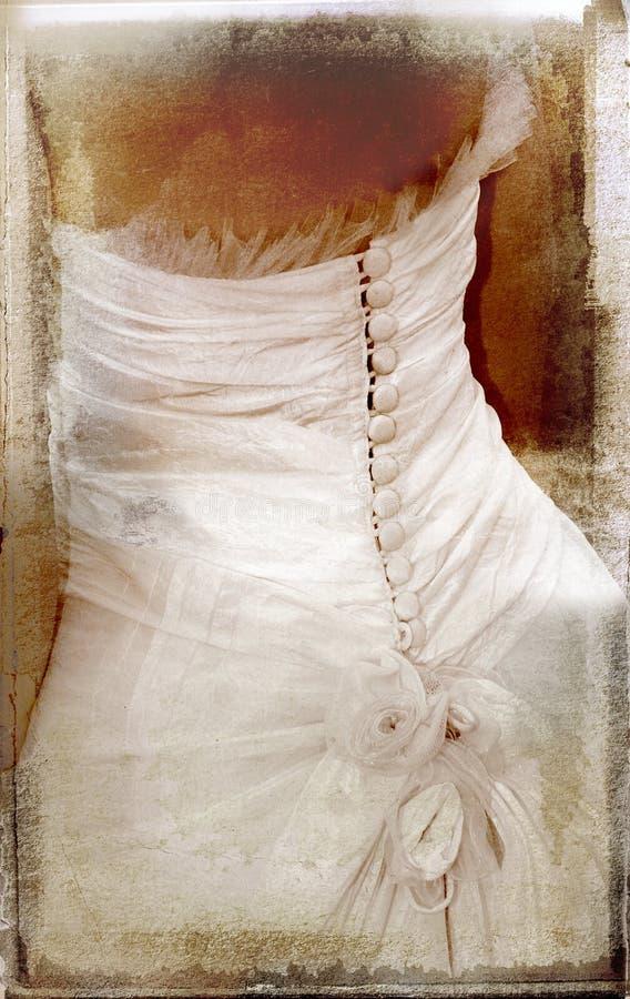 Uitstekend beeld van bruid op geweven achtergrond royalty-vrije stock fotografie