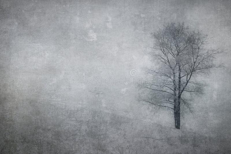 Uitstekend beeld van een boom over grungeachtergrond royalty-vrije stock foto