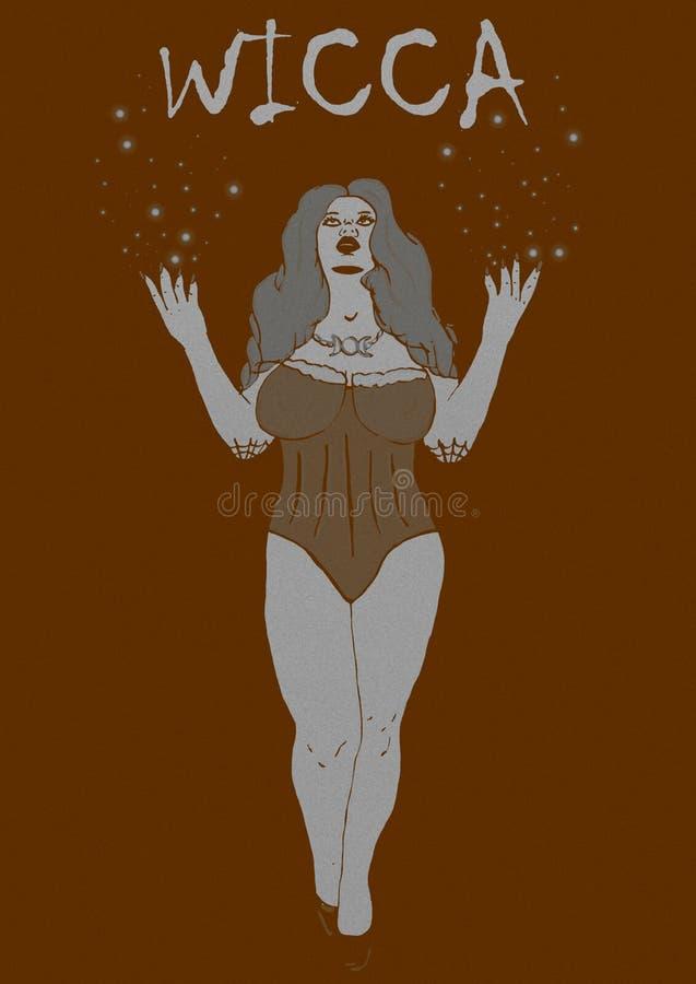 Uitstekend beeld van een wicca vector illustratie