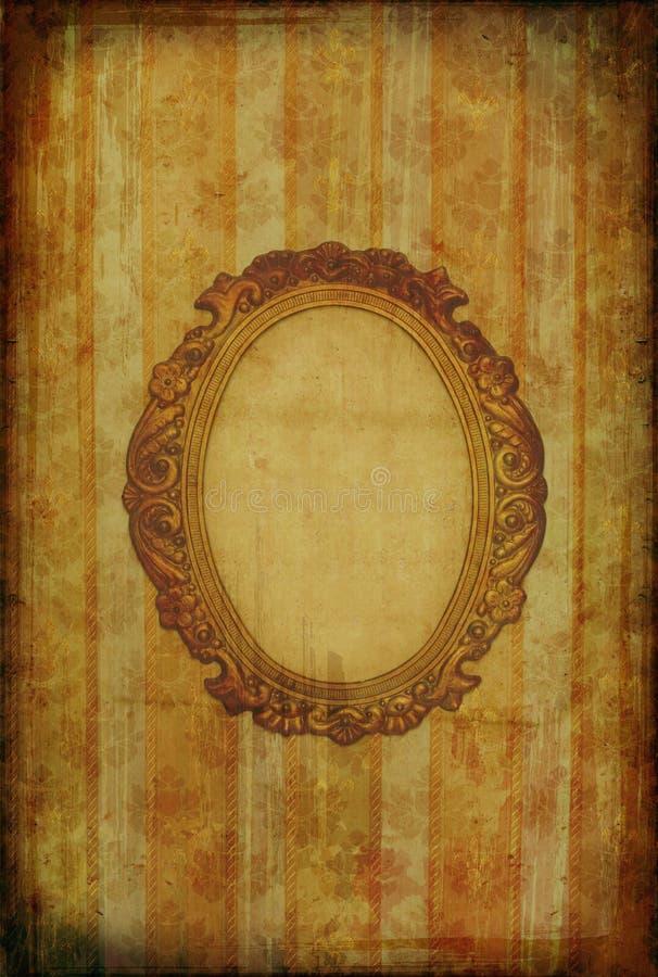 Uitstekend behang met ovaal frame stock illustratie
