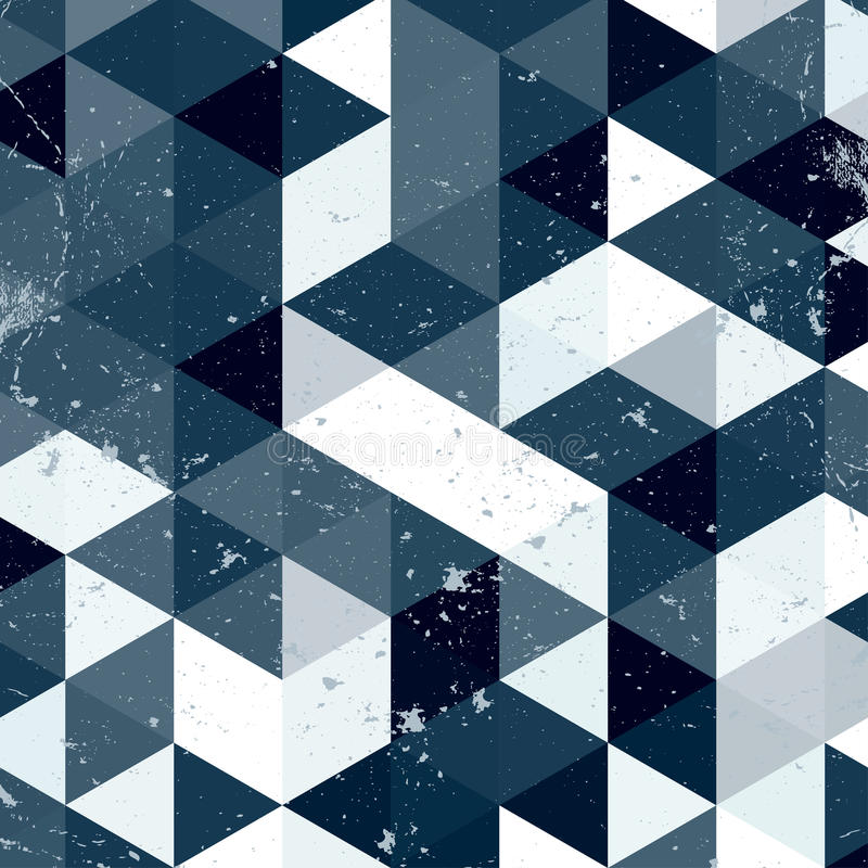 Uitstekend blauw en wit driehoekspatroon Geometrische hipster retro achtergrond met plaats voor uw tekst Retro driehoeksachtergro vector illustratie
