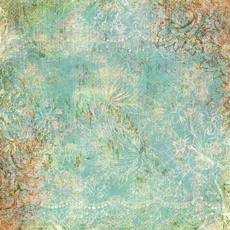 Uitstekend bloemen antiek thema als achtergrond stock afbeelding