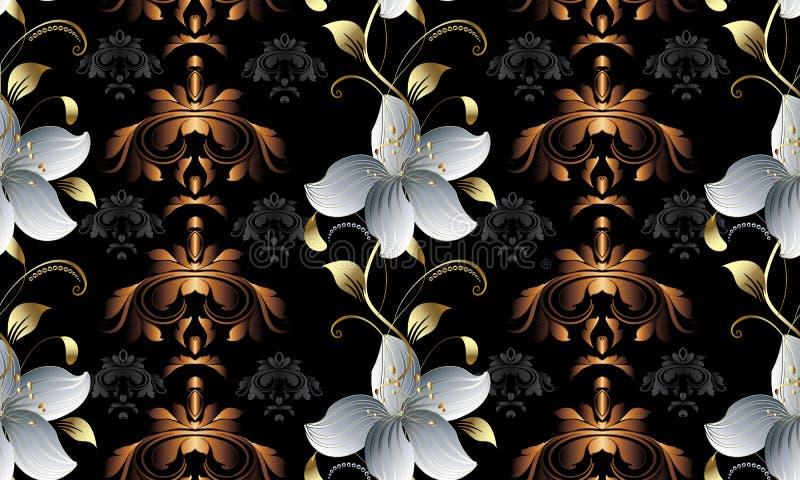 Uitstekend bloemen 3d naadloos patroon Vectordamastachtergrond wal vector illustratie