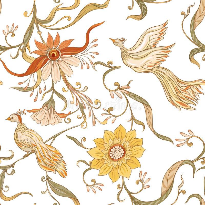 Uitstekend bloemen en vogels naadloos patroon, achtergrond stock illustratie