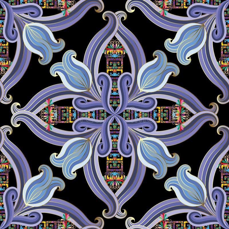 Uitstekend bloemen etnisch stijl Grieks vector naadloos patroon Kleurrijke sier moderne achtergrond Gestreepte hand getrokken blo stock illustratie