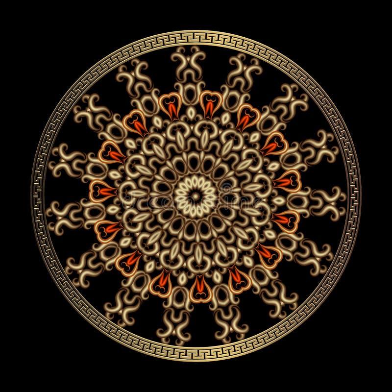 Uitstekend bloemen Grieks 3d mandalapatroon Het gouden ronde ornament van het de kunstkant van de elegantielijn Decoratief etnisc stock illustratie