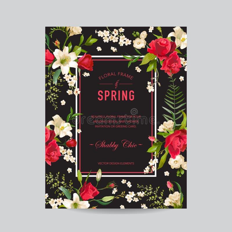 Uitstekend Bloemen Kleurrijk Kader De waterverf nam en Lily Flowers toe royalty-vrije illustratie